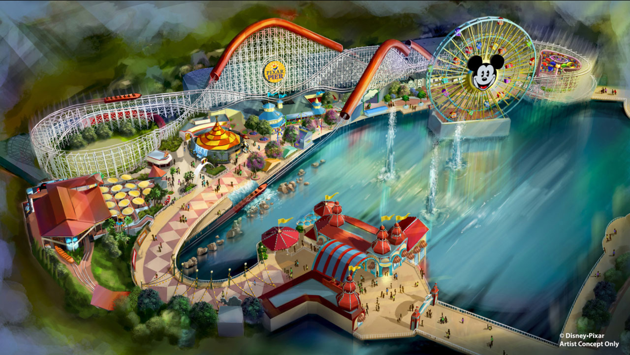 A rendering of the newly themed Pixar Pier at Disney's California Adventure, which includes the Incredicoaster, is shown.