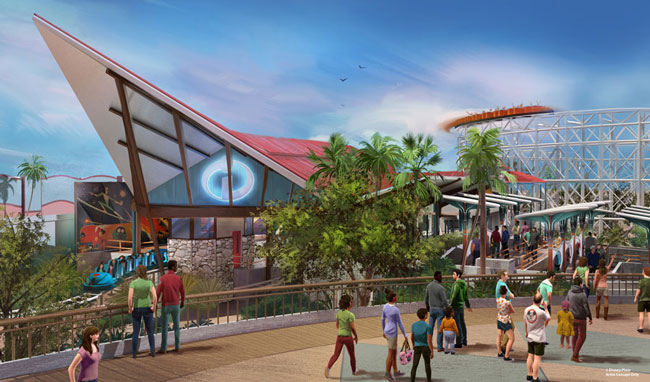 An up-close rendering shows what the new Incredicoaster will look like along Pixar Pier in California Adventure come summer 2018.