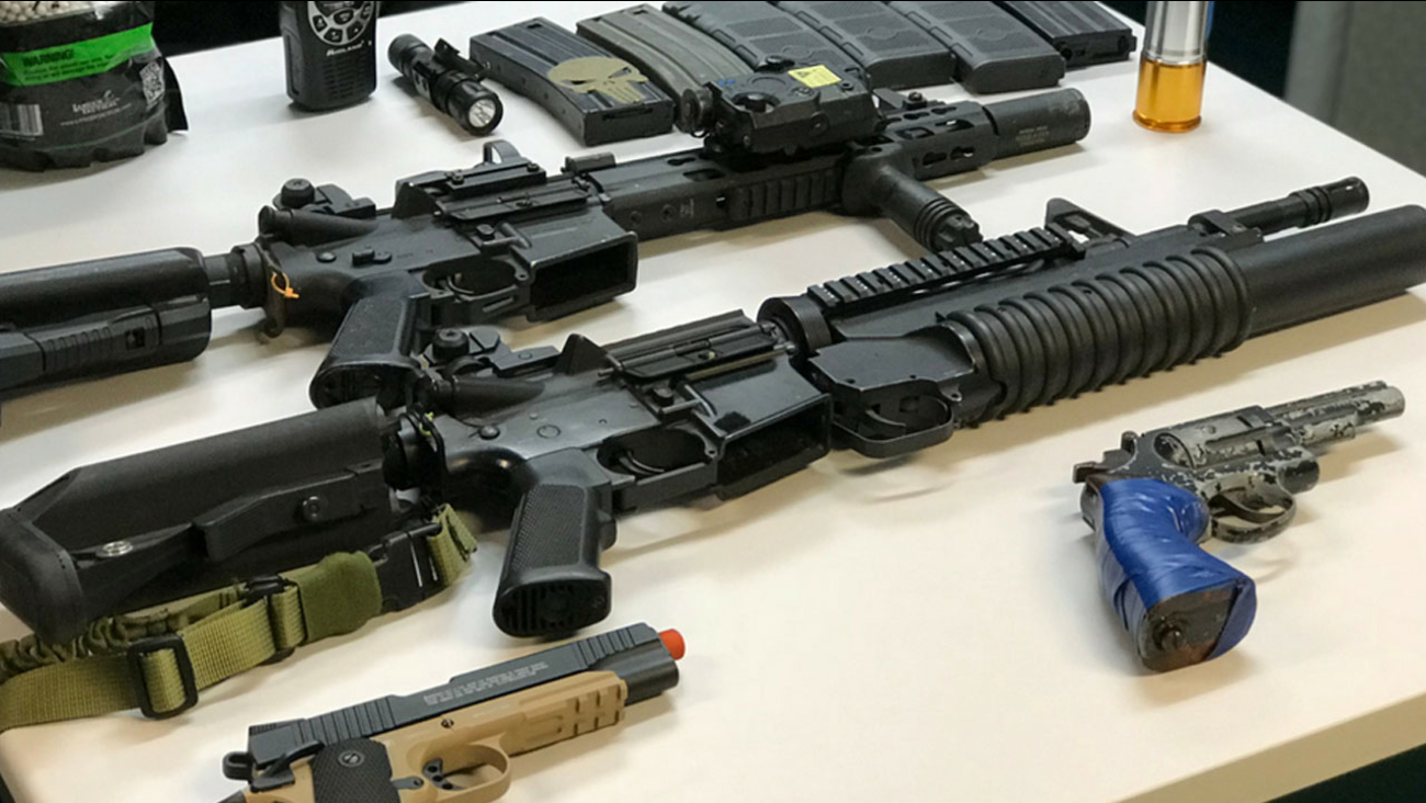 Authorities provided a photo of the replica weapons found the suspect, Joseph Fierro's, vehicle after a search on Saturday, Nov. 4, 2017.
