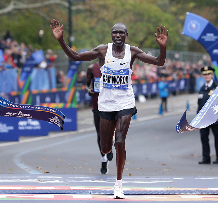 "<div class=""meta image-caption""><div class=""origin-logo origin-image ap""><span>AP</span></div><span class=""caption-text"">Geoffrey Kamworor of Kenya crosses the finish line first in the men's division of the New York City Marathon in New York, Sunday, Nov. 5, 2017. (AP Photo/Seth Wenig)</span></div>"