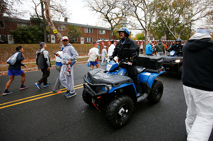 <div class='meta'><div class='origin-logo' data-origin='AP'></div><span class='caption-text' data-credit=''>Law enforcement patrol as runners arrive before the New York City Marathon, Sunday, Nov. 5, 2017, in New York. (AP Photo/Jason DeCrow)</span></div>