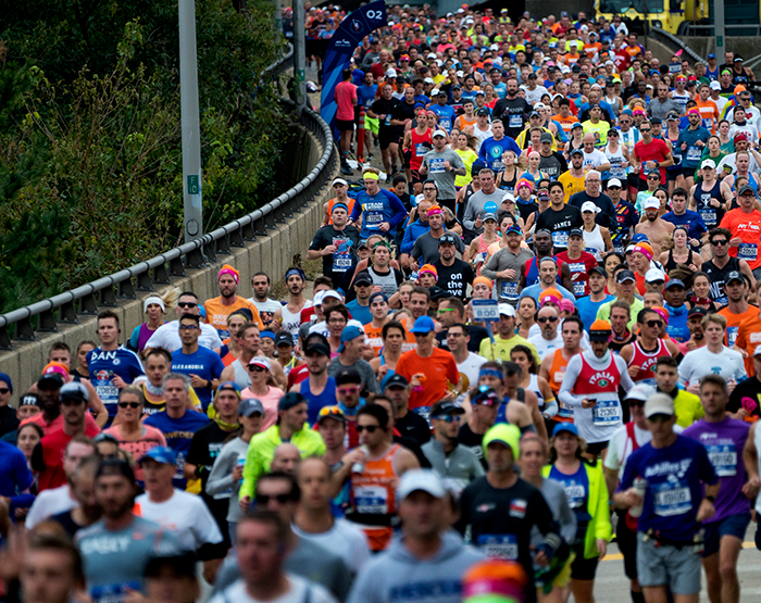 <div class='meta'><div class='origin-logo' data-origin='AP'></div><span class='caption-text' data-credit=''>Runners enter Brooklyn after crossing the Verrazano-Narrows Bridge during the New York City Marathon on Sunday, Nov. 5, 2017, in New York. (AP Photo/Craig Ruttle)</span></div>