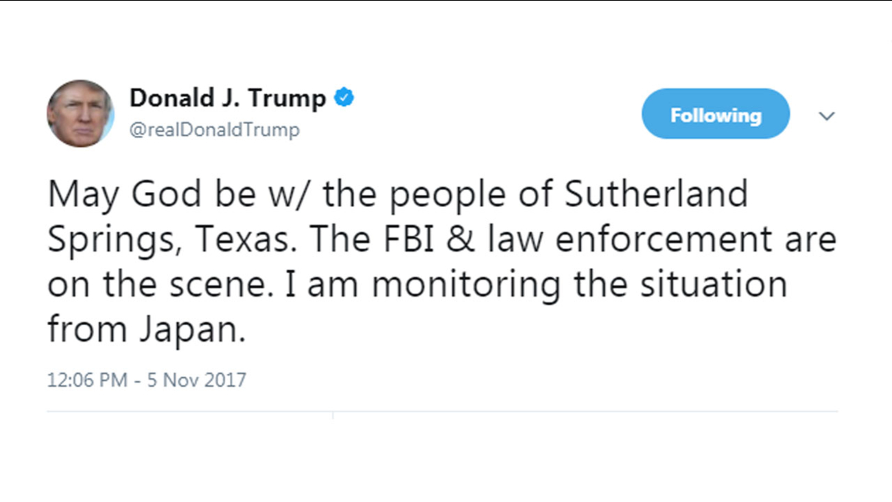 President Donald Trump said in a tweet Sunday, Nov. 5, 2017, that he is monitoring the mass shooting situation in Sutherland Springs, Texas from Japan.