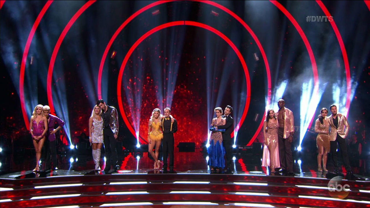 "The remaining couples of ""Dancing With the Stars"" season 25 line up during the elimination phase of the show on Monday, Nov. 6, 2017."