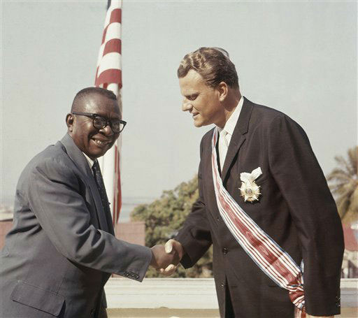 "<div class=""meta image-caption""><div class=""origin-logo origin-image ap""><span>AP</span></div><span class=""caption-text"">Evangelist Billy Graham gets Grand Commander Human Order of African Redemption from President of Liberia, William V.S. Tubman in 1960.</span></div>"