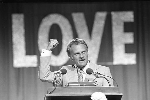 <div class='meta'><div class='origin-logo' data-origin='AP'></div><span class='caption-text' data-credit=''>Evangelist Billy Graham speaks to 18,000 messengers in Dallas, June 13, 1974, on the closing night of the Southern Baptist Convention.</span></div>