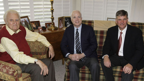 <div class='meta'><div class='origin-logo' data-origin='AP'></div><span class='caption-text' data-credit=''>Then-Republican presidential candidate Sen. John McCain, center, poses for photo with Christian Evangelist Billy Graham and his son Franklin Graham at in Montreat on June 29, 2008.</span></div>