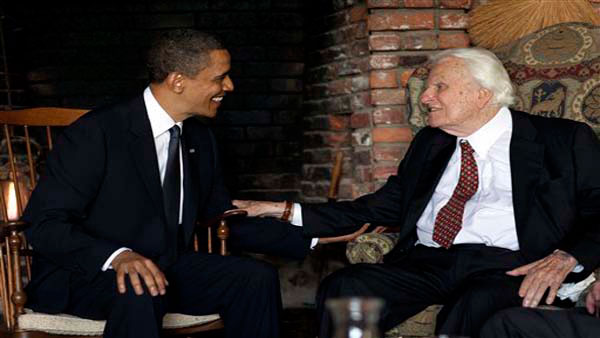 <div class='meta'><div class='origin-logo' data-origin='AP'></div><span class='caption-text' data-credit=''>President Barack Obama meets with Billy Graham at his mountainside home in Montreat on April 25, 2010.</span></div>