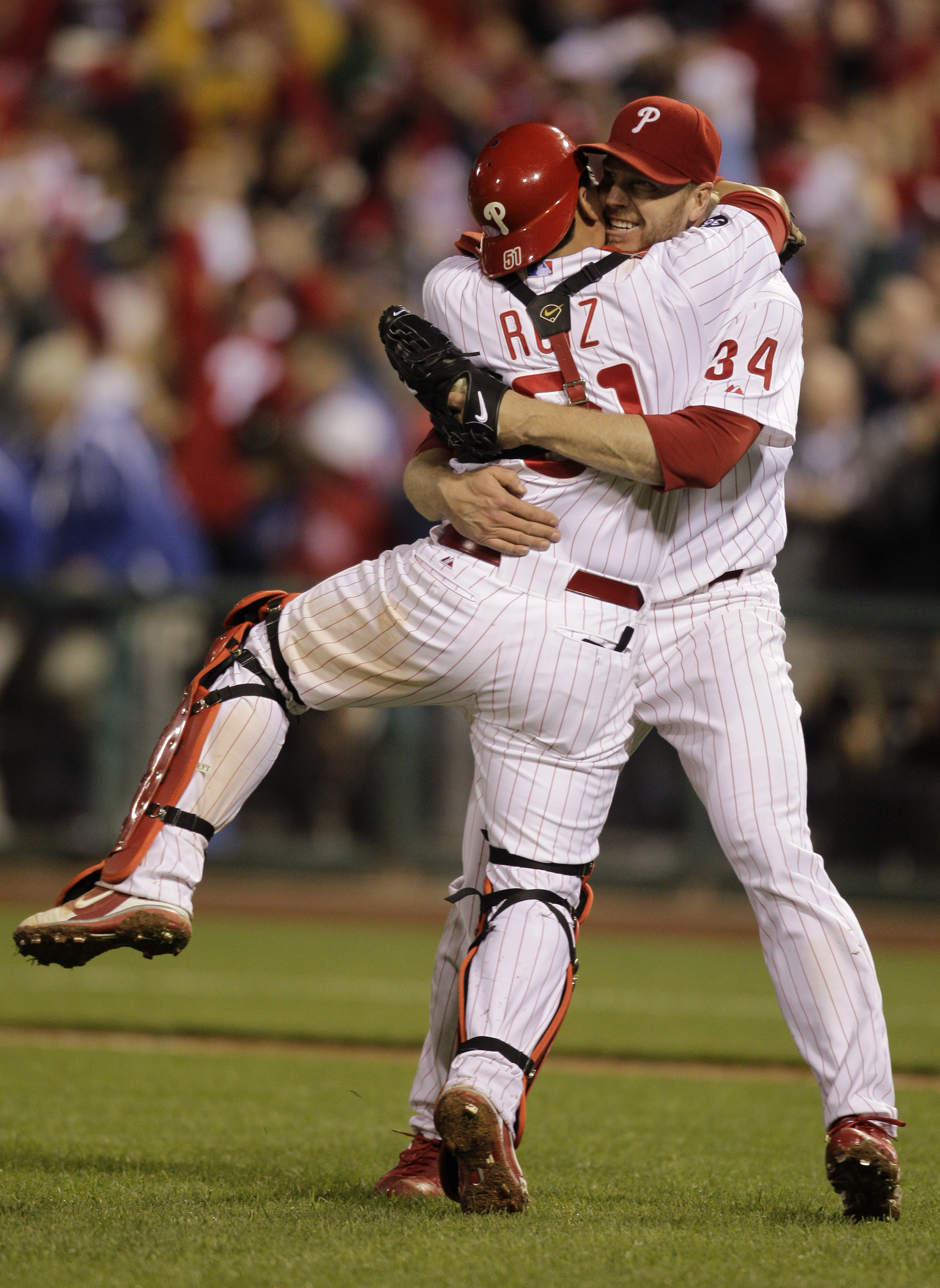 <div class='meta'><div class='origin-logo' data-origin='AP'></div><span class='caption-text' data-credit=''>Roy Halladay and Carlos Ruiz celebrate after Halladay's playoff no-hitter against the Reds in 2010.</span></div>