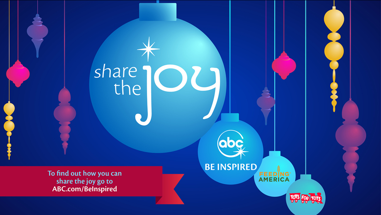 graphic with drawings of holiday decorations on strings, and the words share the joy, be inspired, feeding america, and toys for tots on them.