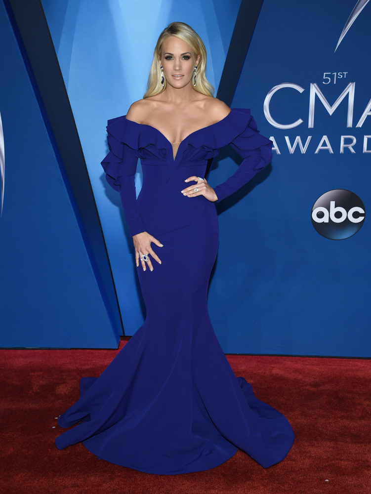 "<div class=""meta image-caption""><div class=""origin-logo origin-image none""><span>none</span></div><span class=""caption-text"">Carrie Underwood arrives at the 51st annual CMA Awards on Wednesday, Nov. 8, 2017, in Nashville, Tenn. (Evan Agostini/Invision/AP)</span></div>"