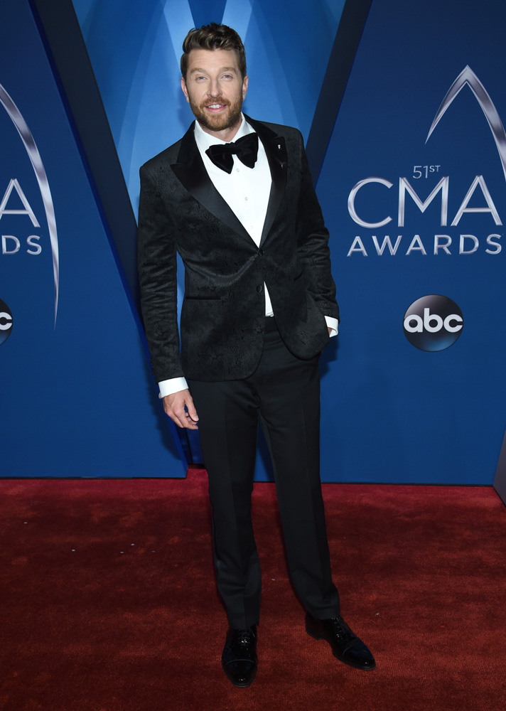 "<div class=""meta image-caption""><div class=""origin-logo origin-image none""><span>none</span></div><span class=""caption-text"">Brett Eldredge arrives at the 51st annual CMA Awards on Wednesday, Nov. 8, 2017, in Nashville, Tenn. (Evan Agostini/Invision/AP)</span></div>"