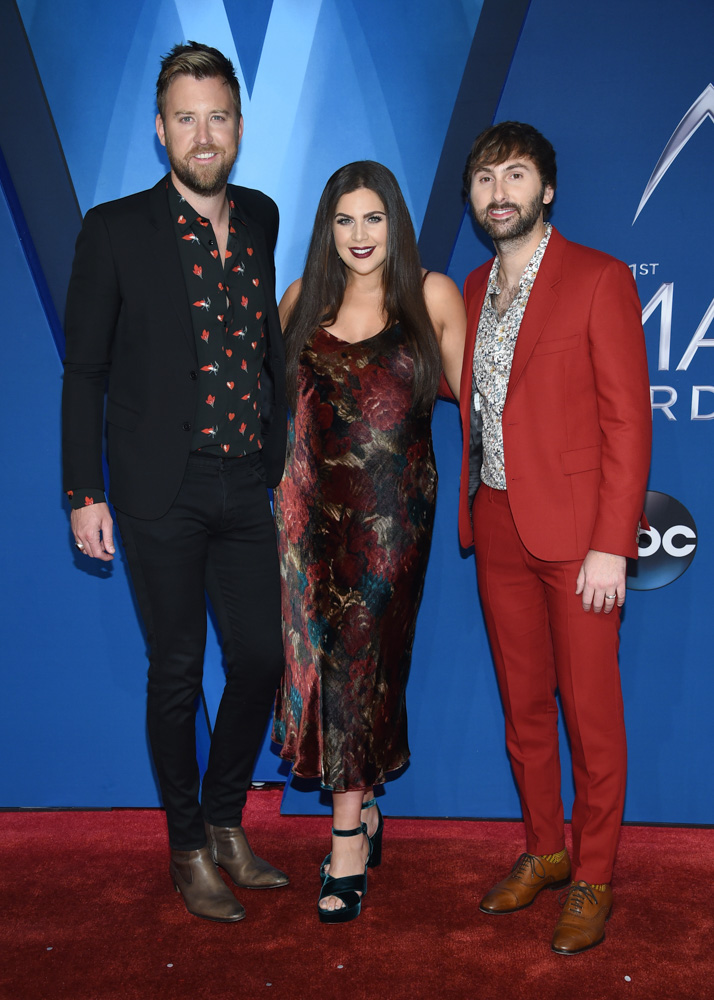 "<div class=""meta image-caption""><div class=""origin-logo origin-image none""><span>none</span></div><span class=""caption-text"">Charles Kelley, from left, Hillary Scott and Dave Haywood, of Lady Antebellum, arrive at the 51st annual CMA Awards on Wednesday, Nov. 8, 2017, in Nashville, Tenn. (Evan Agostini/Invision/AP)</span></div>"