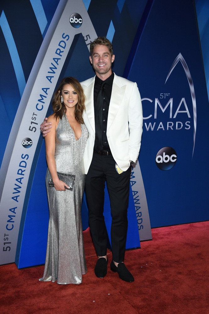 "<div class=""meta image-caption""><div class=""origin-logo origin-image none""><span>none</span></div><span class=""caption-text"">Brett Young, right, arrives at the 51st annual CMA Awards on Wednesday, Nov. 8, 2017, in Nashville, Tenn. (Evan Agostini/Invision/AP)</span></div>"