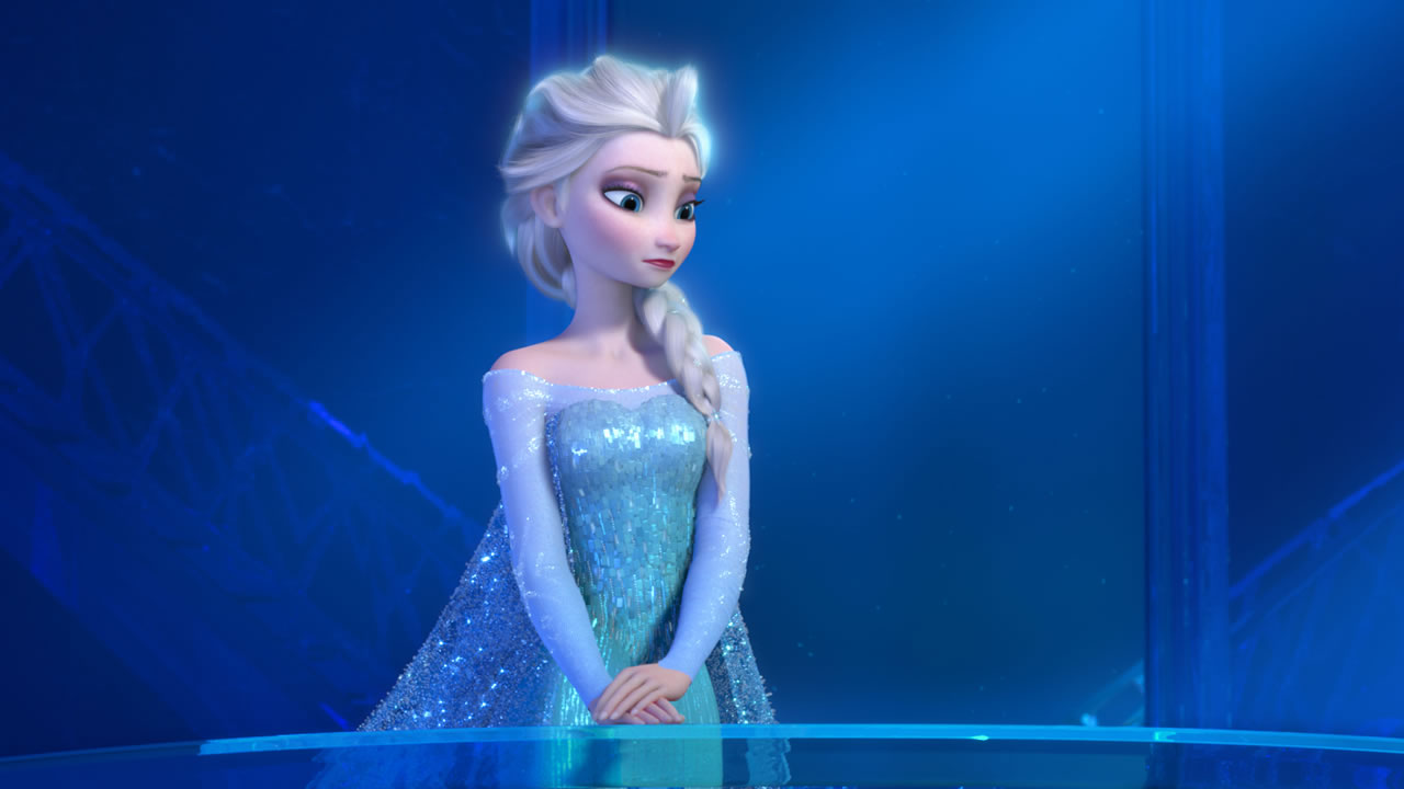 """This image provided by Disney shows a teenage Elsa the Snow Queen, voiced by Idina Menzel, in a scene from the animated feature """"Frozen."""""""