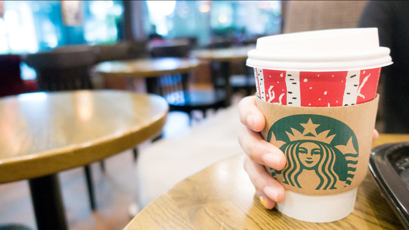A holiday Starbucks cup is pictured in this undated file photo.