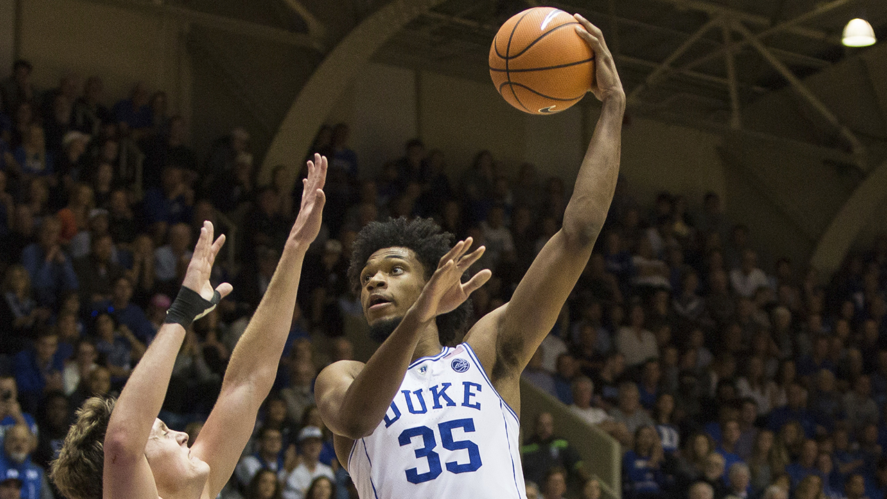 Duke freshman Marvin Bagley soars over an Elon opponent on Friday night.