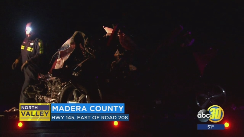 Three people are dead after a three-car accident in Madera County