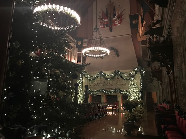 "<div class=""meta image-caption""><div class=""origin-logo origin-image none""><span>none</span></div><span class=""caption-text"">The Biltmore estate near Asheville, North Carolina is decorated with dozens of Christmas trees, wreaths, and Christmas decorations. (WTVD photo/Michelle Germano)</span></div>"