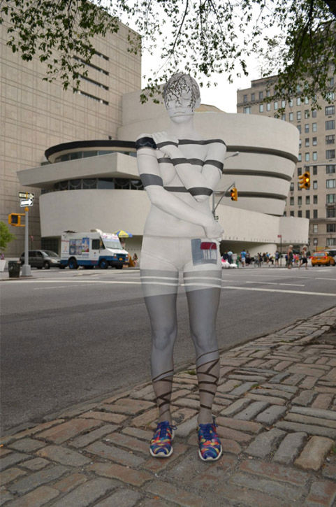 "<div class=""meta image-caption""><div class=""origin-logo origin-image ""><span></span></div><span class=""caption-text"">One of Merry's subjects posing with the Guggenheim Museum in Manhattan. (Bodypaintings by Trina Merry)</span></div>"