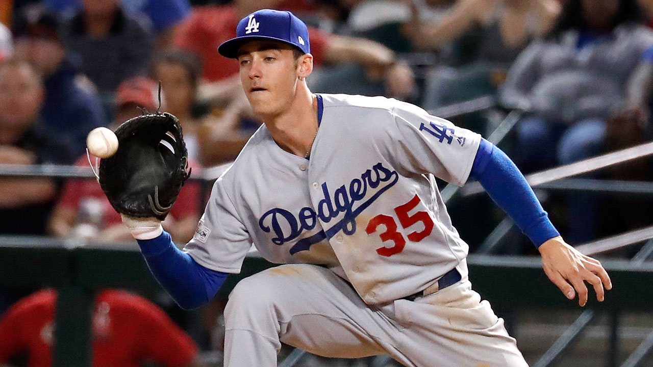 Los Angeles Dodgers first baseman Cody Bellinger (35) against the Arizona Diamondbacks during the second inning of game 3 of baseball's National League Division Series.