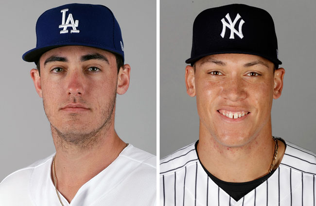 These are 2017 file photos showing Los Angeles Dodgers' Cody Bellinger, left, and New York Yankees' Aaron Judge.