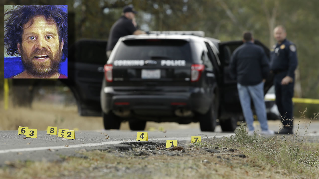 Yellow tags mark where bullet casings found at one of the scenes of a shooting spree at Rancho Tehama Reserve, near Corning, Calif., Tuesday, Nov. 14, 2017.