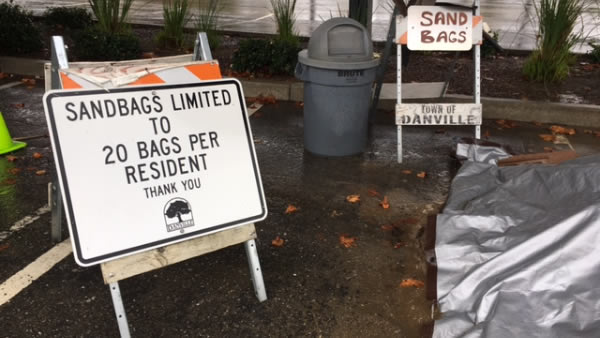 Sandbags are seen in Danville, Calif. on November 16, 2017.