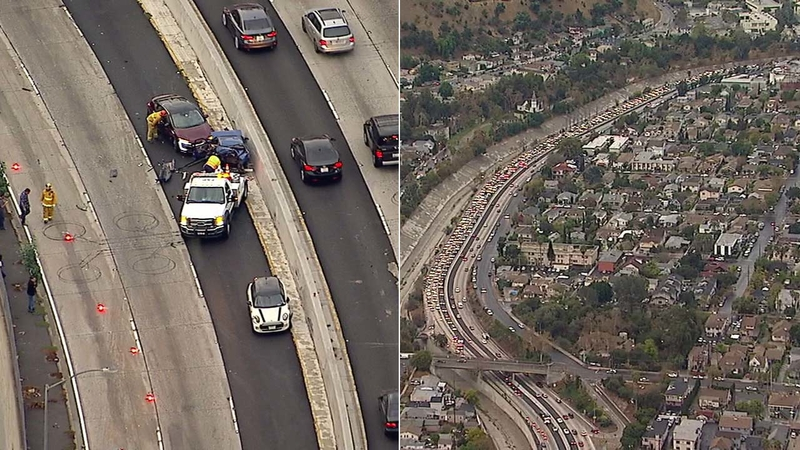 Crash shuts down northbound 110 Freeway in Highland Park