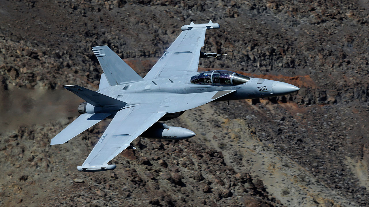 An EA-18G Growler pictured in this February 2017 file image flies over Death Valley National Park, Calif.