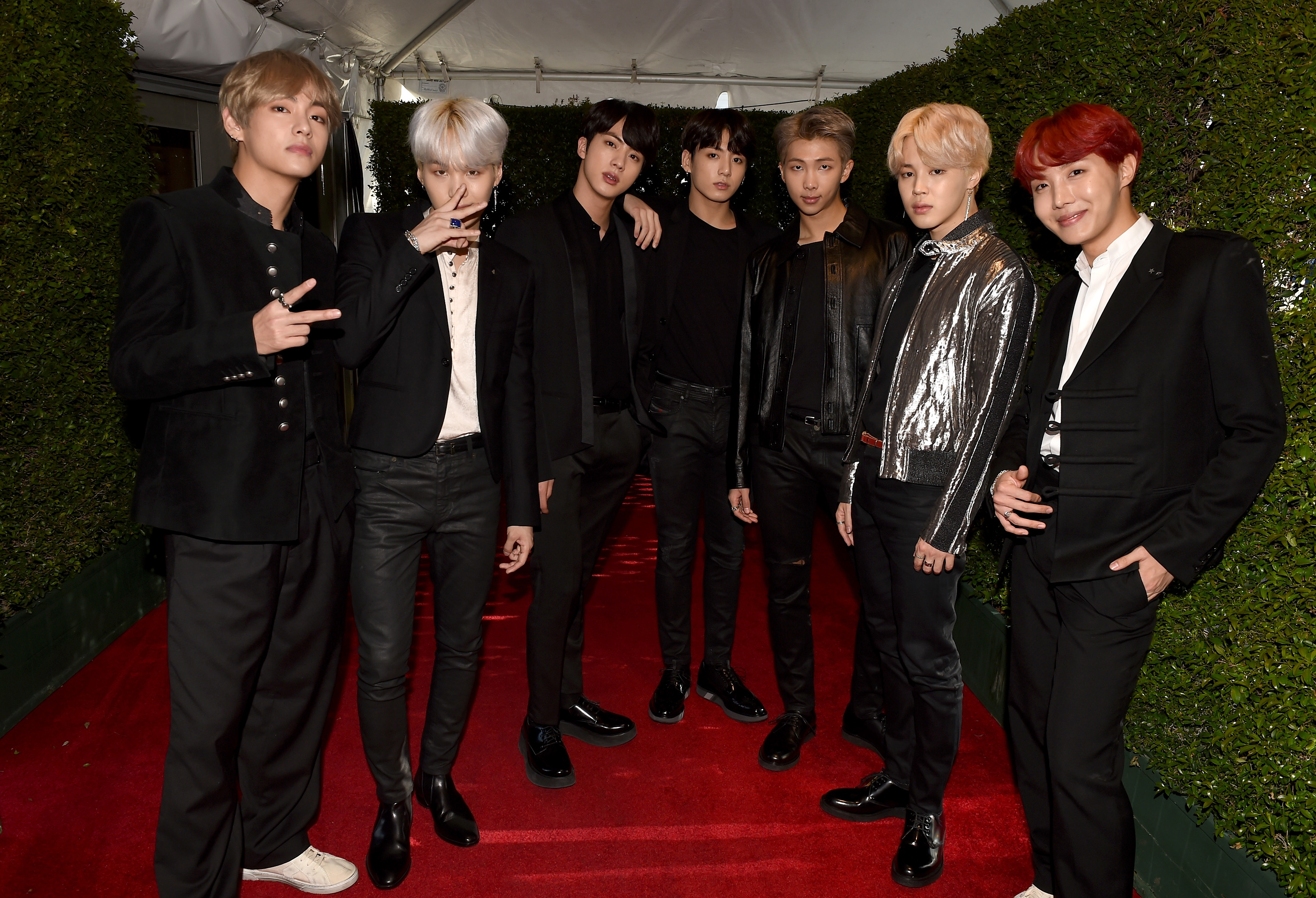 <div class='meta'><div class='origin-logo' data-origin='none'></div><span class='caption-text' data-credit='Kevin Winter/AMA2017/Getty Images for dcp'>Music group BTS attends the 2017 American Music Awards at Microsoft Theater on November 19, 2017 in Los Angeles, California.</span></div>