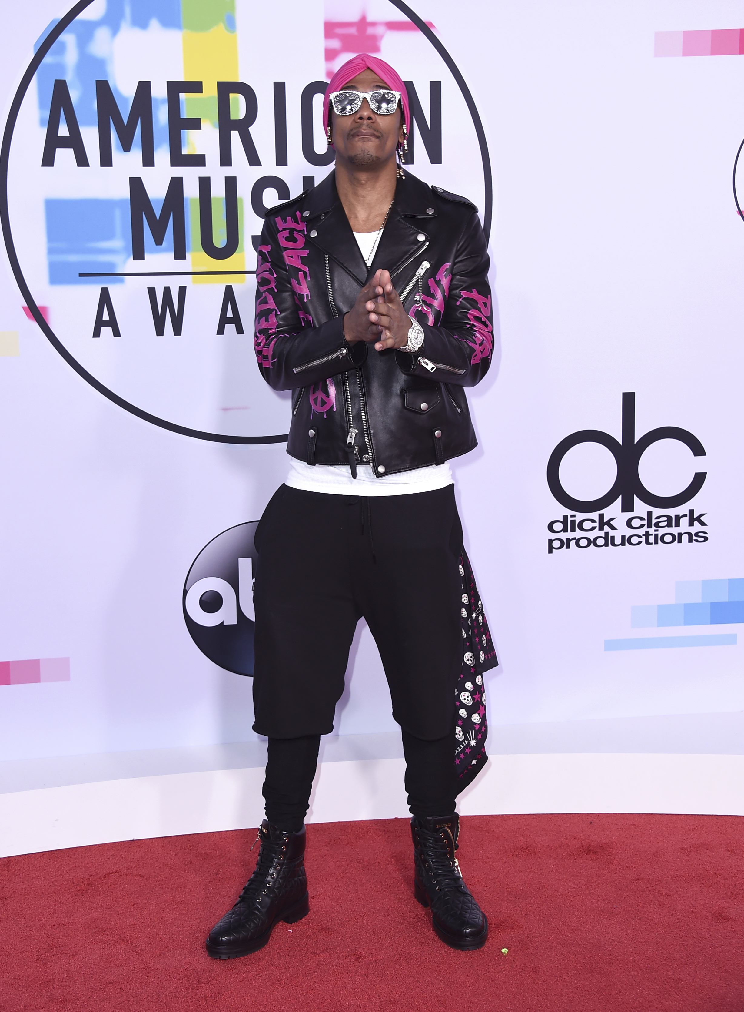 <div class='meta'><div class='origin-logo' data-origin='none'></div><span class='caption-text' data-credit='Jordan Strauss/Invision/AP'>Nick Cannon arrives at the American Music Awards at the Microsoft Theater on Sunday, Nov. 19, 2017, in Los Angeles.</span></div>
