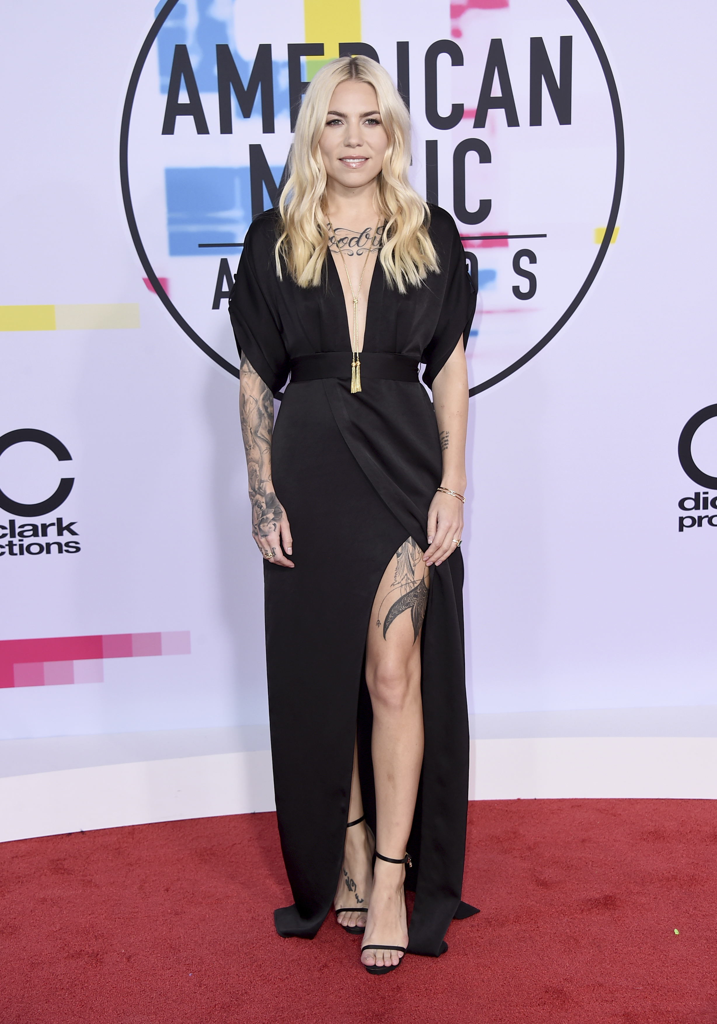 <div class='meta'><div class='origin-logo' data-origin='none'></div><span class='caption-text' data-credit='Jordan Strauss/Invision/AP'>Skylar Grey arrives at the American Music Awards at the Microsoft Theater on Sunday, Nov. 19, 2017, in Los Angeles.</span></div>