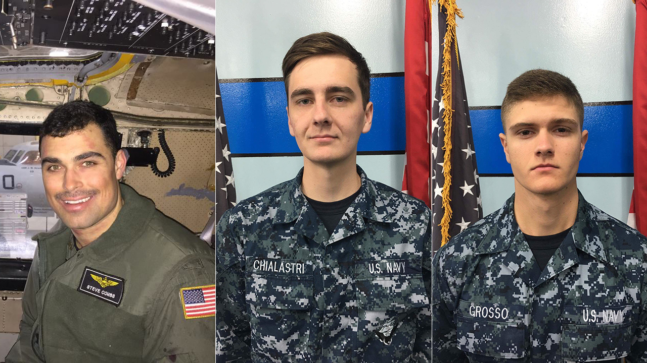 Lt. Steven Combs of Florida, left, Airman Matthew Chialastri of Louisiana, center, and Airman Apprentice Bryan Grosso of Florida are seen in photos released after their deaths.