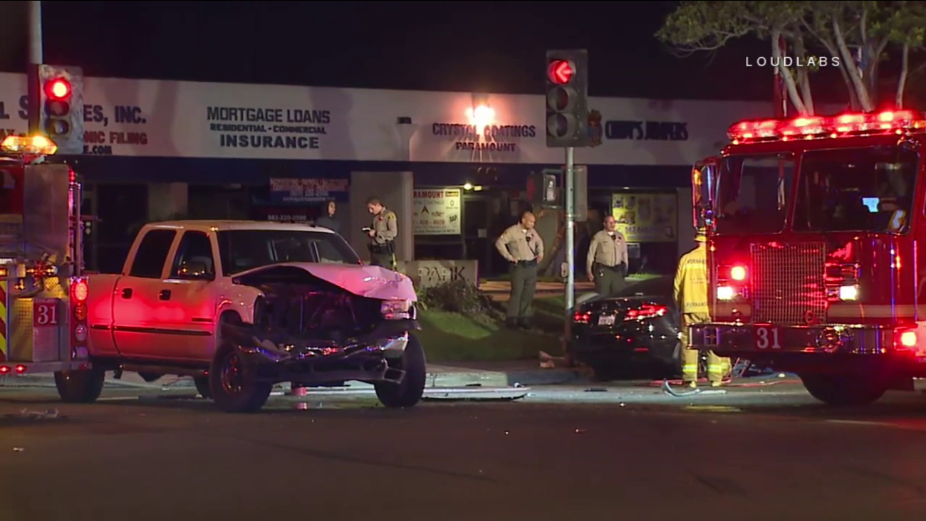 Los Angeles County sheriff's deputies and firefighter-paramedics responded after a fatal two-vehicle crash in Paramount on Saturday, Nov. 25, 2017.