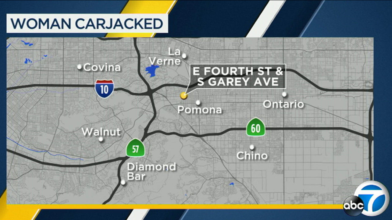 A 19-year-old woman was carjacked at knifepoint in Pomona on Saturday, Nov. 25, 2017.