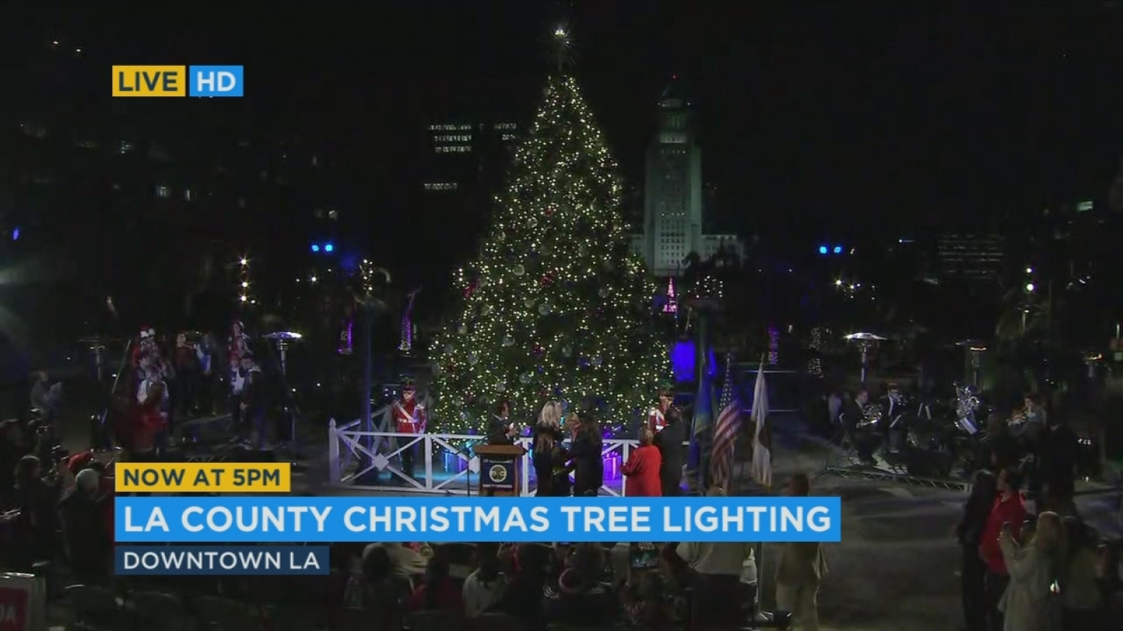 Christmas arrives in downtown Los Angeles at annual tree ...
