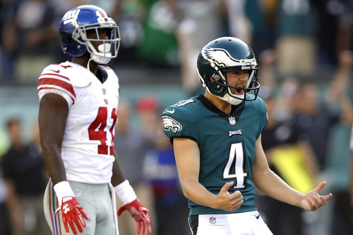 <div class='meta'><div class='origin-logo' data-origin='AP'></div><span class='caption-text' data-credit='AP Photo/Matt Rourke'>Philadelphia Eagles' Jake Elliott, right, celebrates after kicking an NFL football game-winning field goal against the New York Giants, Sunday, Sept. 24, 2017, in Philadelphia.</span></div>