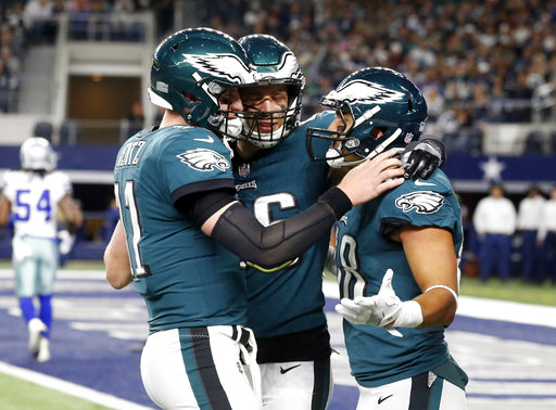 <div class='meta'><div class='origin-logo' data-origin='AP'></div><span class='caption-text' data-credit='AP Photo/Michael Ainsworth'>Philadelphia Eagles' Carson Wentz, let, Zach Ertz (86) and Trey Burton, right, celebrate a two-point conversion caught by Burton in the second half of an game against the Cowboys.</span></div>