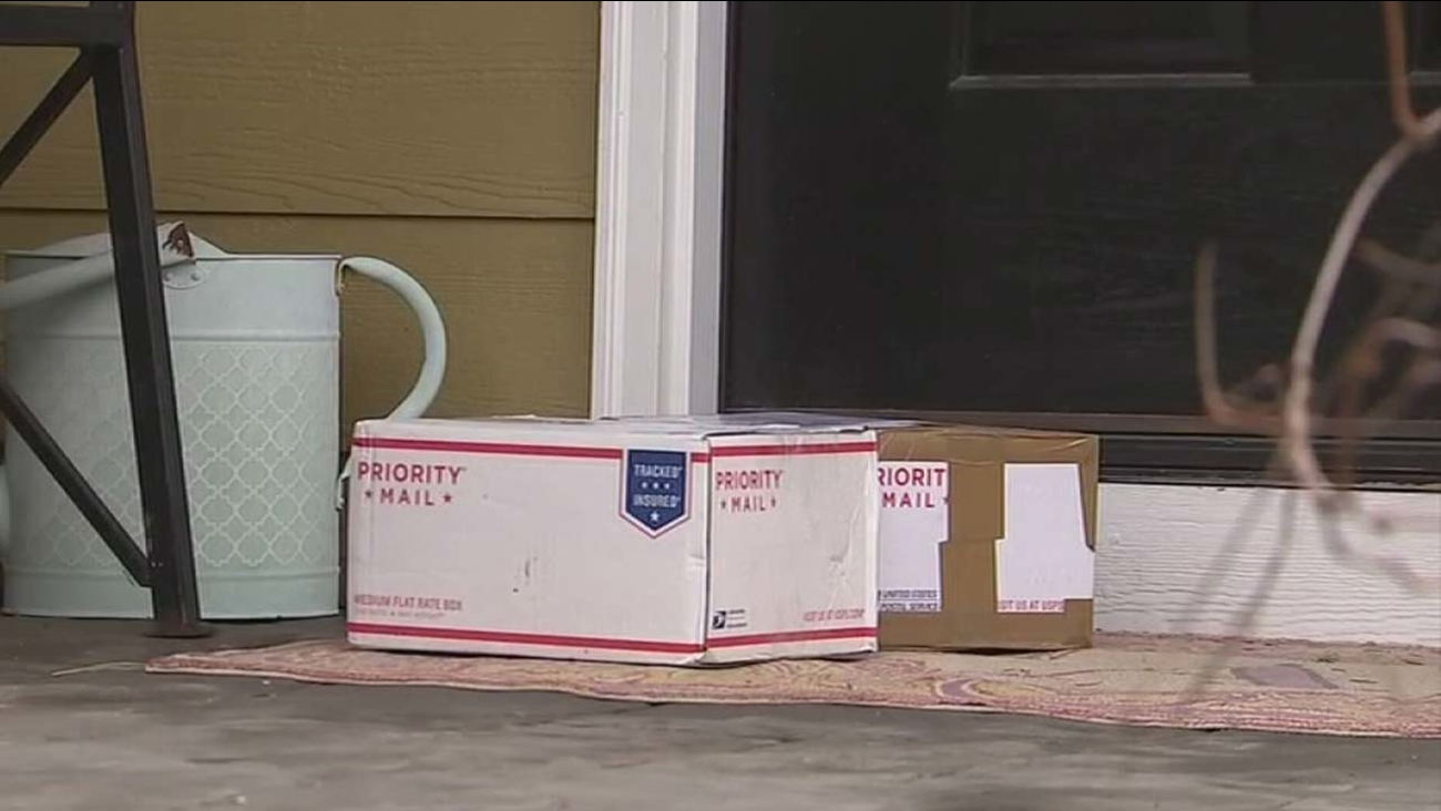 Packages are seen on a doorstep in this undated file photo.