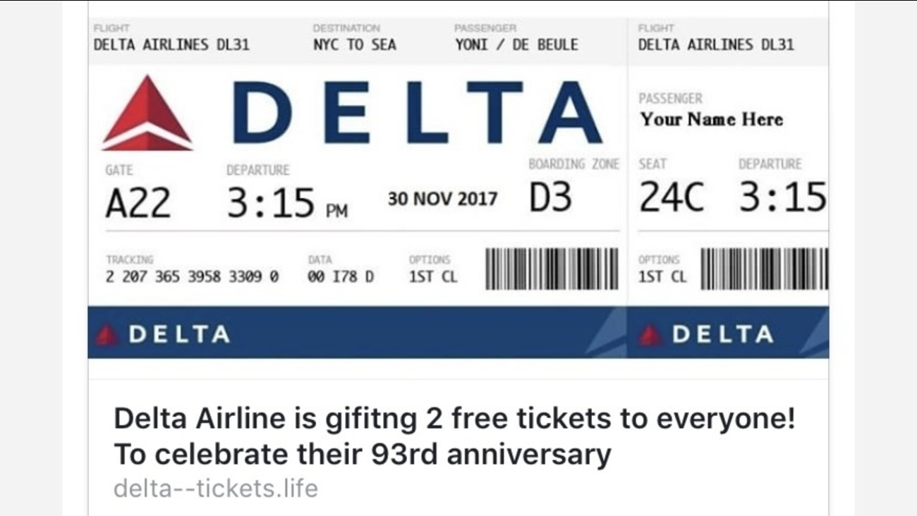 A scam circulating on Facebook claims Delta is giving away two free tickets to everyone for their 93rd anniversary