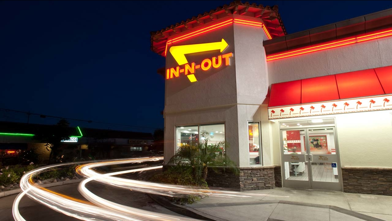 In this June 8, 2010 photo, cars exit the drive-thru at In-N-Out Burger in Baldwin Park, California.