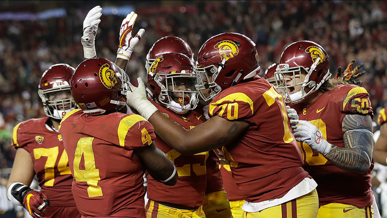 USC running back Ronald Jones II is congratulated after scoring a touchdown against Stanford during the Pac-12 Conference championship in Santa Clara on Dec. 1, 2017.