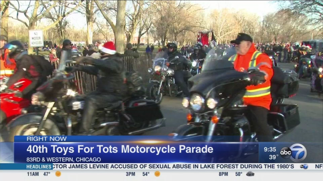 Annual Toys For Tots Motorcycle Parade Riding Through Chicago