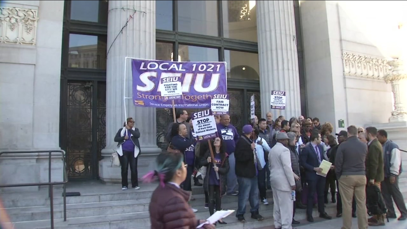 This undated image shows SEIU workers striking.