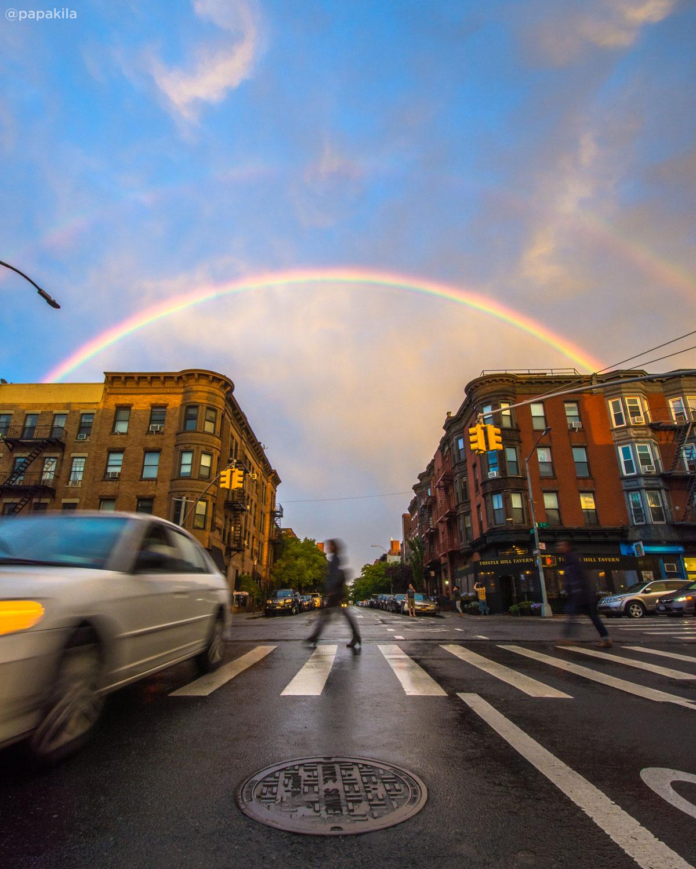 <div class='meta'><div class='origin-logo' data-origin='none'></div><span class='caption-text' data-credit='Don Doherty (@papakila)'>A rainbow in Brooklyn</span></div>