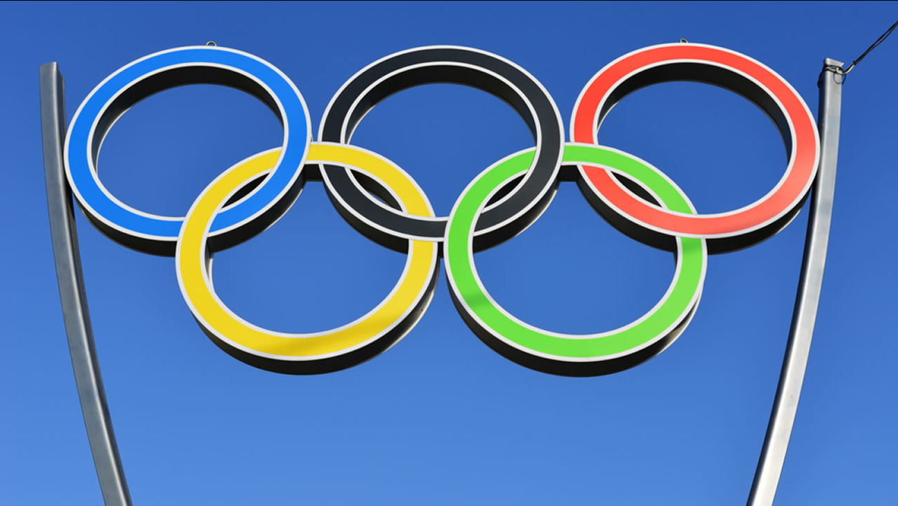 The Olympic rings are seen in Kaliningrad, Russia, on April 26, 2014.