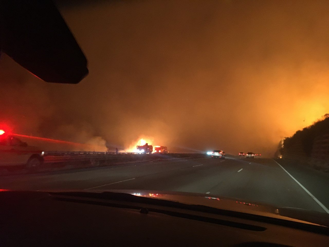 "<div class=""meta image-caption""><div class=""origin-logo origin-image none""><span>none</span></div><span class=""caption-text"">''Use caution on U/S 101 between Ventura and Santa Barbara. Fire is burning on both sides of the highway,'' the Ventura Co. Sheriff wrote on Twitter. (VENTURASHERIFF/Twitter)</span></div>"
