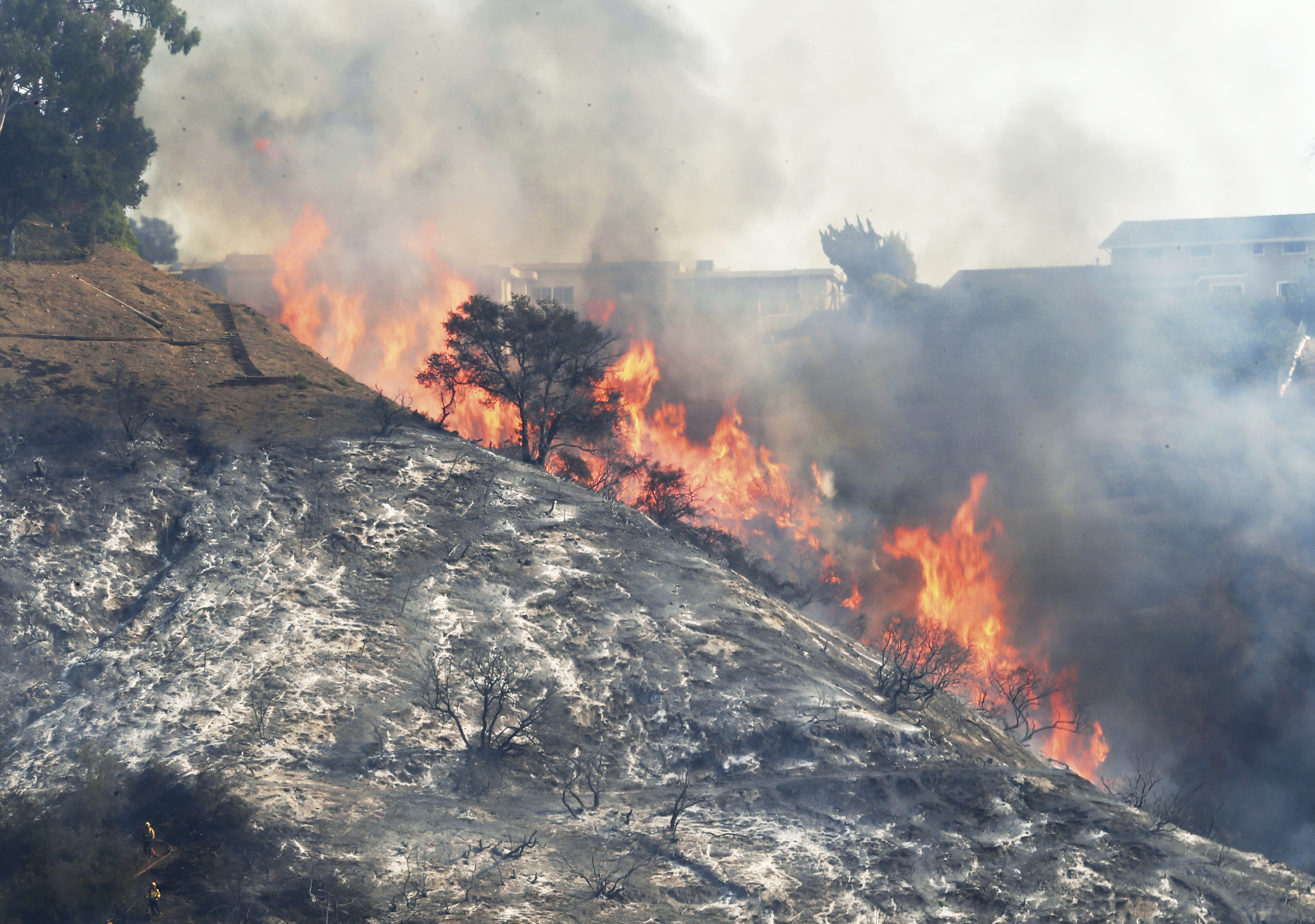 <div class='meta'><div class='origin-logo' data-origin='none'></div><span class='caption-text' data-credit='Reed Saxon/AP Photo'>Flames sweep up a steep canyon wall, threatening homes on a ridge line as the Skirball wildfire swept through the Bel Air district of Los Angeles Wednesday, Dec. 6, 2017.</span></div>