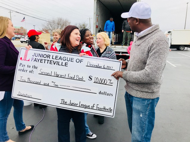 <div class='meta'><div class='origin-logo' data-origin='none'></div><span class='caption-text' data-credit='Credit: Second Harvest Food Bank'>Junior League of Fayetteville gives $10,000</span></div>